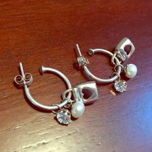 Sterling Silver Jewelry - Sterling Silver Charm Hoop Earrings