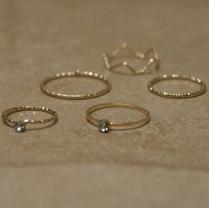 Jewelry - Back In! Set of 5 Gold Knuckle Stacking Rings