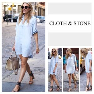 Anthropologie Cloth & Stone Chambray Dress. NWOT