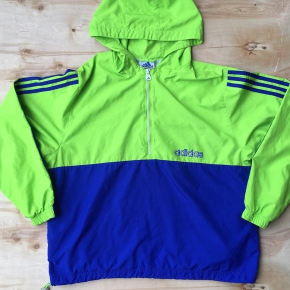 Adidas windbreaker neon green blue XL hip track