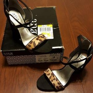 A.N.A bronze criss cross strap heel cheetah NWT