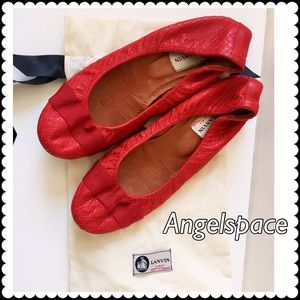 Lanvin Shoes - Lanvin red quilted ballet flats