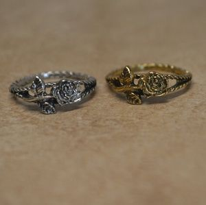 Jewelry - Brand New Silver or Gold Rustic Tapestry Rose Ring