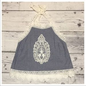 Tops - Blue Chambray Crochet Halter Boho Top 🌻