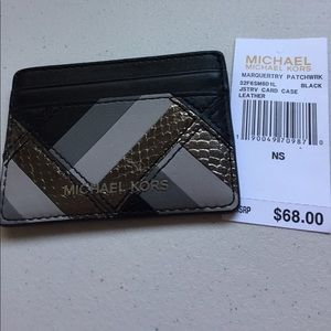 NWT Michael Kors black/grey card holder