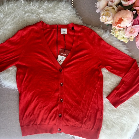 CAbi Sweaters - CAbi Red Cobblestone Sweater Size S
