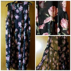Other - Long Black Floral Kimono