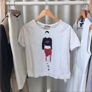 Zara Tops - ZARA Short Sleeve Printed Sweatshirt