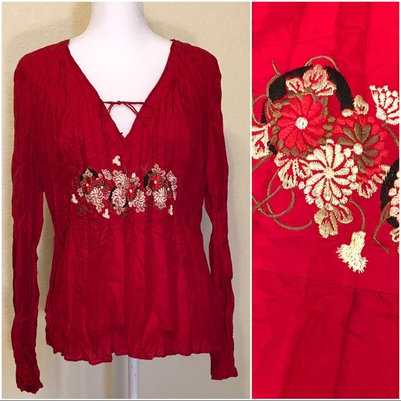 INC International Concepts Tops - Red Crinkled Silk Embroidered Blouse