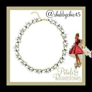 Eye Candy LA Jewelry - Clear Crystal Petal Statement Necklace