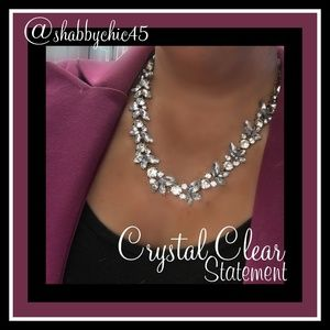 Clear Crystal Petal Statement Necklace