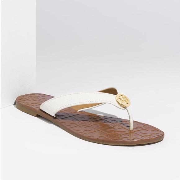 1b8a8ad7072c1 Tory Burch  Thora  White Leather Flip Flop
