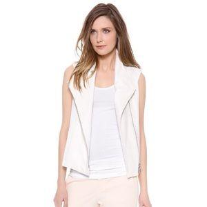 Vince Jackets & Blazers - Vince Asymmetrical White Leather Trim open Vest