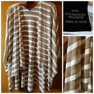 Jackets & Blazers - Tan & White Striped Kimono