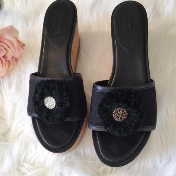 5c1b45c22f Coach Shoes   Jazmin Slide Cork Heel Wedge Sandal 10   Poshmark