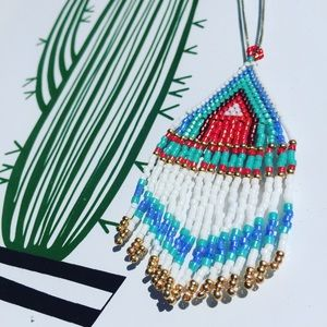 Handmade Red Tide Beadwork Pendant Necklace
