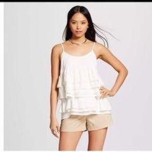 who what wear  Tops - WHO WHAT WEAR Ruffle Shirt NWT cream