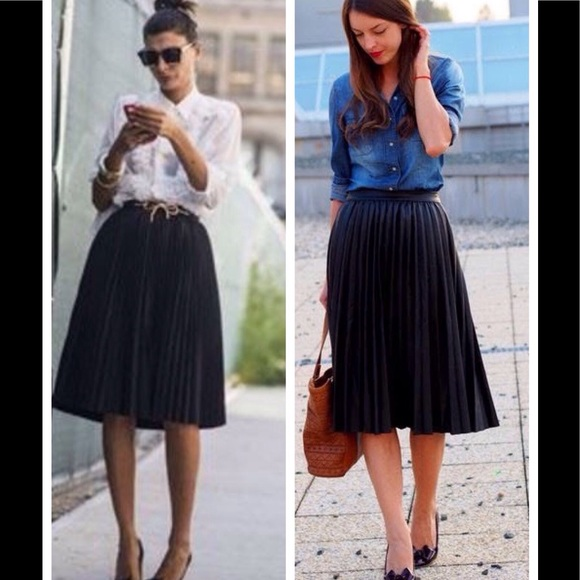 e96220a53c Lands' End Skirts | Black Pleated Midi Skirt By Lands End Canvas ...