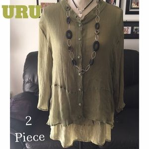 URU Silk Button up Blouse With Tank Top