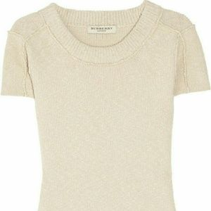 NWT BURBERRY LONDON SS RIBBED KNIT SWEATER TOP M/L