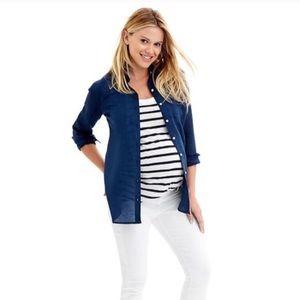 "NWT Gap Maternity navy ""Ramie"" button down shirt"