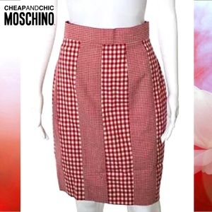 MOSCHINO CHEAP CHIC Posh Red/Beige Gingham Skirt