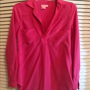 Lilly Pulitzer Hot Pink Silk Blouse XS