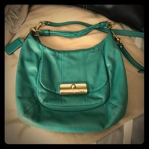 Coach Krysten Bag Teal with Gold Hardware