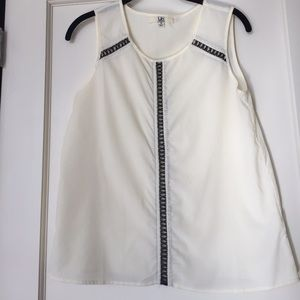 Ya Los Angeles Tops - White tank with faux leather detailing