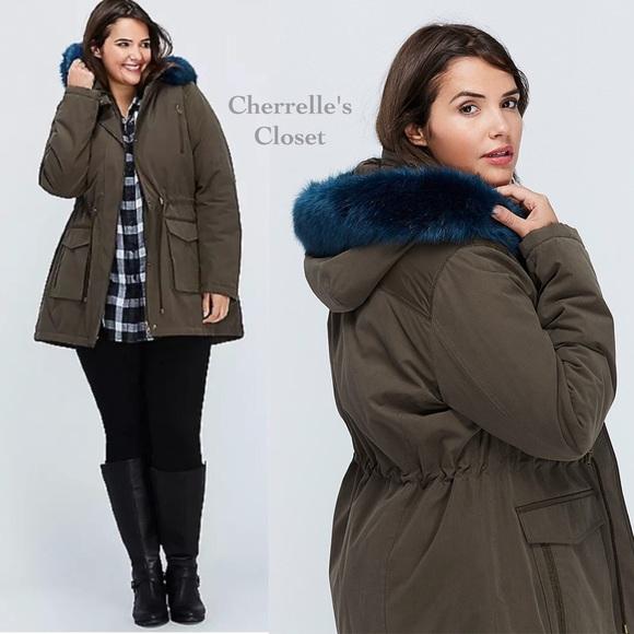9f50924ba7d Lane Bryant Faux Fur Trimmed Parka Coat Plus Size