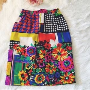 Vintage Dresses & Skirts - Vtg90s Abstract Silk High Waisted Pencil Skirt S