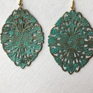 Handcrafted Jewelry - Brass turquoise patina filigree earrings