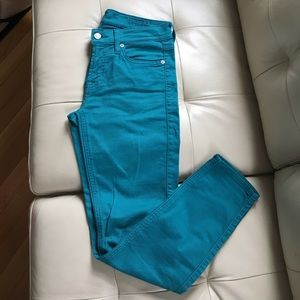 7 For All Mankind Pants - 7 For All Mankind Size 27 Teal Cropped Skinny Jean