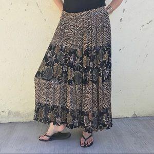 Vintage Dresses & Skirts - vintage BOHO MAXI skirt black button UP FLORAL XL