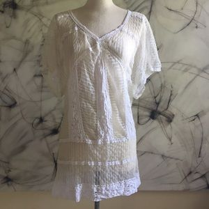 White Sheer Lace Tunic Minidress by Hurley