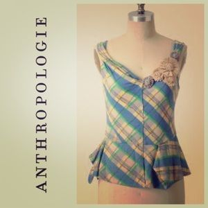 Like New Little Yellow Button Plaid Pepleum Top!