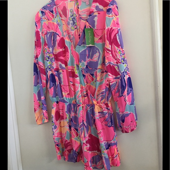 859e130e2ed9 Lilly Pulitzer fanning romper multi jam out print