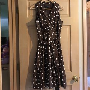 Jessica Howard Dresses & Skirts - Jessica Howard Dress, Brown and White Polka Dot
