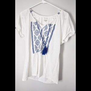 Sonoma Tops - Sonoma White and Blue Top with Ties
