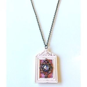 NatureAngels Jewelry - Hand Crafted Victorian Frame Pendant Necklace Pink