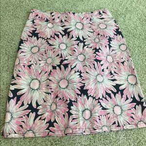 Talbots Dresses & Skirts - Talbots STRETCH navy w/pink & white flowers skirt