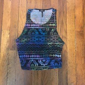 Rainbow Tribal Print Crop Top