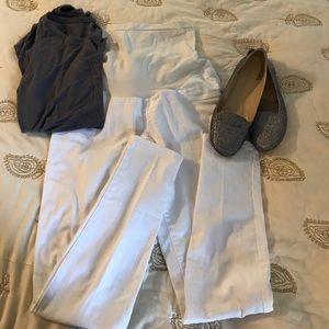 Indigo Blue Denim - White maternity jeans