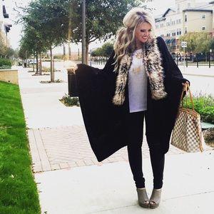 Merona Sweaters - Faux fur trimmed cape sweater