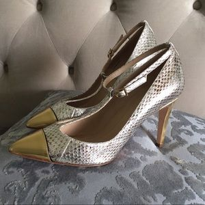 J. Crew Collection Everly snakeskin T-strap pumps
