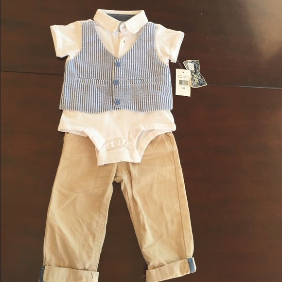 Baby Boyz Matching Sets Vest Onesie And Khakis 69months