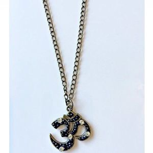 NatureAngels Jewelry - Hand Crafted OM Pendant Necklace Brass Rhinestone