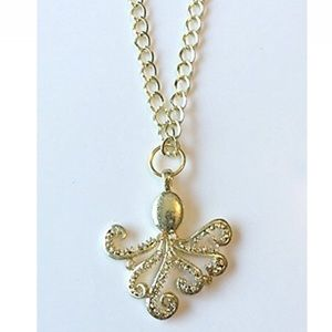 NatureAngels Jewelry - Hand Crafted Octopus Pendant Necklace Rhinestone
