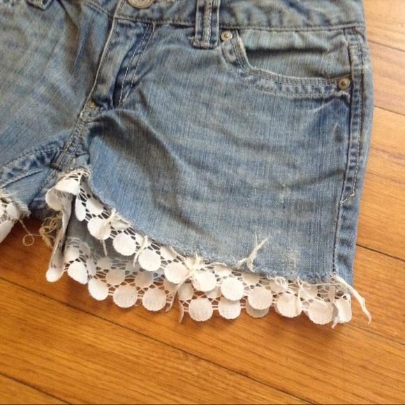 Aeropostale Shorts - Aeropostale Denim Lace Cutoff Shorts Sz 3/4