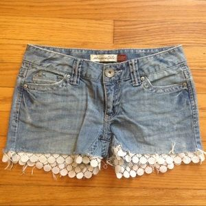 Aeropostale Denim Lace Cutoff Shorts Sz 3/4